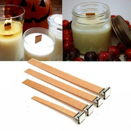 Wooden Candle Wick, 6x60mm, Pretabbed