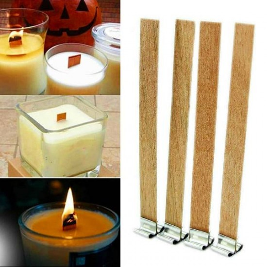 Wooden Candle Wick, 12x150mm, Pretabbed